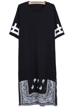 Black Contrast Black Cashews Print Long T-Shirt US$27.67