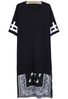 Black Contrast Black Cashews Print Long T-Shirt US$27.67