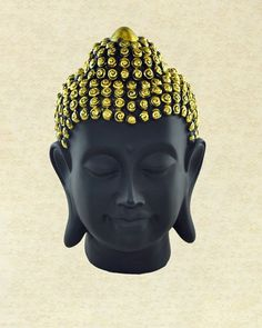 Buddha Head Statue in Wood Black and Gold - Sivalya Ceramic Painting, Painting On Wood, Flower Pot People, Buddha Decor, Rock Garden Design, Head Statue, Bright Decor, Buddha Zen, Black History Facts