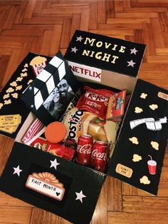Movie night box 🍿🎥 Christmas gifts – strange Xmas ideas Out of all of th. Movie night box 🍿🎥 Christmas gifts – strange Xmas ideas Out of all of the items that we'v Cute Birthday Gift, Cute Valentines Day Gifts, Valentines Gifts For Boyfriend, Boyfriend Birthday Ideas, Homemade Birthday Gifts, Birthday Present Ideas For Best Friend, Diy Birthday Box, Diy Birthday Gifts For Friends, Valentines Day Care Package