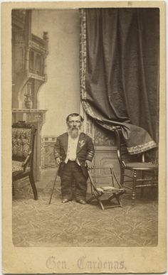 """Barnum little person performer """"General Cardenas"""" cabinet card from 1880s. Anonymous Photographer"""