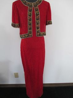 WOMENS M  LAURENCE KAZER HOLIDAY RED BEADED LONG EVENING FORMAL WEAR DRESS