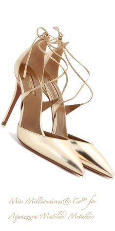 Trendy High Heels Inspiration    Aquazzura 'Matilde' Metallic Pumps  - #Heels https://talkfashion.net/shoes/heels/trendy-high-heels-inspiration-aquazzura-matilde-metallic-pumps/