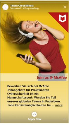 Sample Advert for McAfee Germany