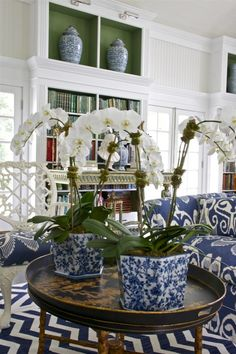 Chinoiserie Blue & White Magic! Chinoiserie Chic on chevron flooring. Who would think? But Gorgeous! | rickysturn/home-styling