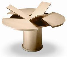 revista populares: Ronda de madera extensible Mesa de comedor