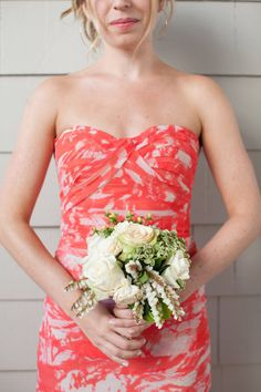 coral mix and match bridesmaids and white bouquets Photography by birdsofafeatherphoto.com | Event Planning by astunningaffair.com | Floral Design by bradaustin.com |  Read more - http://www.stylemepretty.com/2013/06/11/santa-monica-wedding-from-birds-of-a-feather/