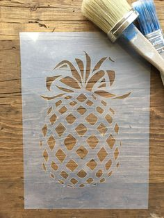 Pineapple Stencil - Wall Art - Fruit Stencil - Pineap ple - Shabby Chic Stencil - furniture painting projects - wall signs -Fruit Gift by LaserAnything on Etsy Stencil Wall Art, Art Mural, Stencil Patterns, Stencil Designs, Stencil Printing, Screen Printing, Diy Painting, Painting On Wood, Shabby Chic Stencils
