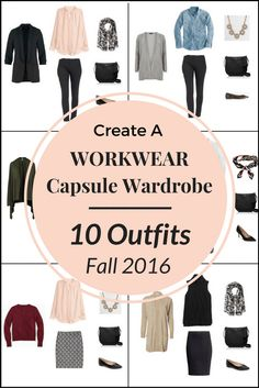 Create a WORKWEAR Capsule Wardrobe On a Budget: 10 Fall Outfits features a blush blouse, olive cardigan, burgundy cardigan, taupe tan cardigan, white shirt, chambray shirt, pencil skirt, ankle pants, black blazer,nsleeveless vest, heels, pumps and leopard flats.