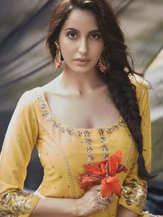 Nora Fatehi considers her dance performances in movies as dance numbers. The Street Dancer actress Nora opens up about how her Bollywood career started. Bollywood Actress Hot Photos, Bollywood Girls, Beautiful Bollywood Actress, Most Beautiful Indian Actress, Beautiful Actresses, Bollywood Stars, Bollywood Bikini, Churidar, Anarkali