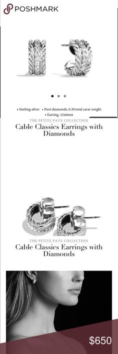 David Yurman- Cable Classic Diamond Earrings NWOT David Yurman Cable Classic Diamond Earrings- NWOT. Never Worn- given to me as a gift. But I would prefer a Bracelet. Perfect Condition. Large Back (to prevent from losing them) cost extra when purchased. Beautiful Shiny, sparkling earrings. WOULD TRADE for a DAVID YURMAN AUTHENTICATED 7mm or larger Small or Medium Bracelet preferably with Morganite(pinkish), Onyx, Possibly Citrine & Possibly light green stone. But must be able to provide…