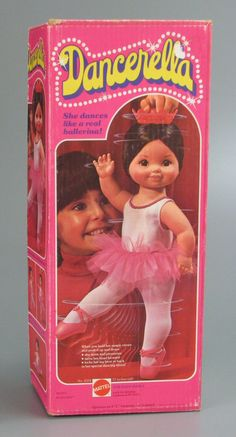 This toy was SO SO SO important for me. I LOVED it and when Santa brought it, I was in love! I even remember the song from the commercial. You put batteries in her and she spun in circles and then did the splits. I know a lot of you gals had this doll! and she had great hair!