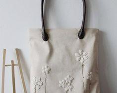 Algodón Chic Shabby a mano boda bolso, bolso de encaje, bolso de encaje, estilo Vintage, de luz blanca/Beige, haga para ordenar, L001