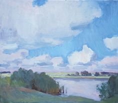 On the Lake, oil painting on canvas 35 x 40 cm, (13″ x 15″)