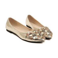 SheIn(sheinside) Gold With Rhinestone Flat Shoes ($23) ❤ liked on Polyvore