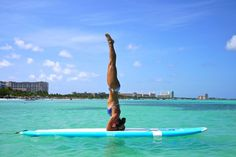 headstand on the ocean (and on a Boga board...) SUP yoga in Aruba