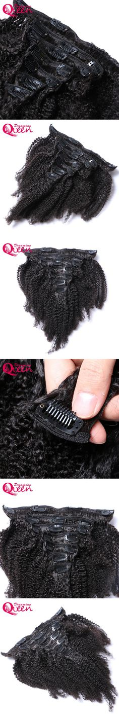 Brazilian Afro Kinky Curly Clip In Human Hair Extensions 7 Pcs/Set Clips In 4B 4C Pattern Dreaming Queen Machine Made Remy Hair