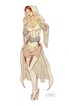 A gorgeously done Burlesque Princess Leia from DeviantArt user jazreet911. (via TheBirdandtheBat)