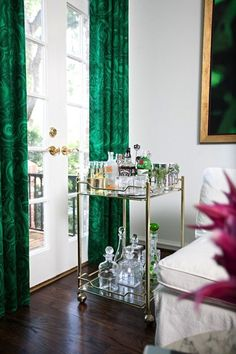 Love the bar cart Emerald drapes. Pantone 2013 Color of the Year: 14 Emerald Green Rooms Decoration Inspiration, Interior Inspiration, Decor Ideas, Interior Ideas, Interior Decorating, Emerald Green Rooms, Emerald Color, Emerald City, Bar Deco