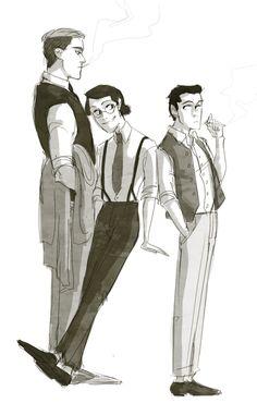 1920's AU. Hanji, Levi, and Erwin
