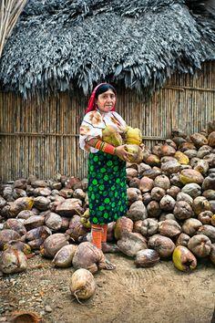 Mujer con cocos en el archipiélago de San Blas.
