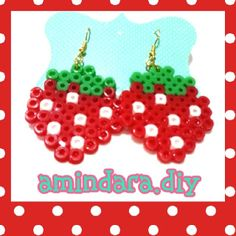 Strawberry earrings perler beads by amindara_diy