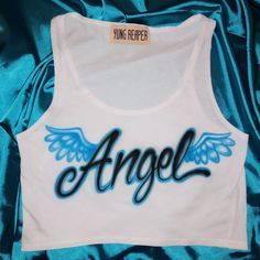 Airbrushed by hand individually! Wash in cold water and hang dry to avoid fading. Production takes weeks before shipping. Custom Clothes, Diy Clothes, 2000s Fashion, Fashion Outfits, Airbrush Designs, Airbrush Art, Airbrush Shirts, Diy Tops, Cute Comfy Outfits