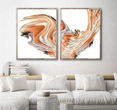 Orange Abstract Painting Set of 2 Prints Orange Minimalist   Etsy