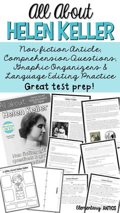 Great reading test prep!  This pack features an article with a biography all about Helen Keller, comprehension questions, graphic organizers and language editing practice.  Prepare your students for FSA!