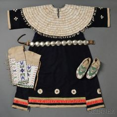 Lakota Dentalium Dress, Beaded Moccasins, Beaded Leggings, and German Silver Concha   Belt