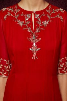Anita Dongre -The Divitha Suit-Red Embroidery Suits Punjabi, Embroidery On Kurtis, Kurti Embroidery Design, Hand Embroidery Dress, Embroidery Neck Designs, Embroidery On Clothes, Salwar Designs, Kurta Designs Women, Dress Neck Designs