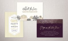 "Festive Affair Holiday Party Invitations Challenge: Runners Up of Modern Elegance Award - ""Retro stripes"" by Jennifer Wick 