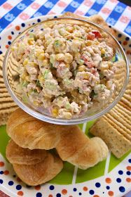 Southwestern Chicken Salad {Football Friday} - Plain Chicken Southwestern Chicken Salad - chicken salad with lime juice, corn, green pepper, celery, tomatoes and cilantro - GREAT flavor! People always ask for the recipe! Chicken Salad Recipes, Salad Chicken, Recipe Chicken, Recipes With Canned Chicken, Cooked Chicken, Thai Chicken, Santa Fe Chicken Salad, Yogurt Chicken, Pepper Chicken