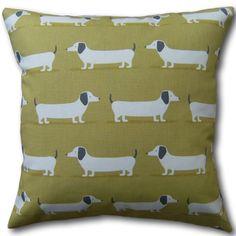 Designer Cushion Covers made in Fryetts Ochre Yellow Hound Dog Dachshund Pillows Animal Cushions, Yellow Cushions, Red Throw Pillows, Linen Pillows, Throw Pillow Cases, Pillow Covers, Cushion Cover Designs