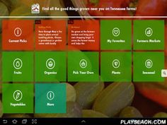 """Pick Tennessee  Android App - playslack.com , The Pick Tennessee mobile app helps you live local on the go! Use this easy app to find the farms, farmers markets, foods and fun closest to you, wherever you are. Search by item (for example, """"apples""""), a place (""""apple orchards""""), by region of the state, or by season. Pick Tennessee will get you where you're going through direct GPS mapping.This free mobile app keeps track of your favorites and links you to seasonal recipes, handy tips and fun…"""