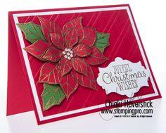 Stampin' Up! stamp set Joyful Christmas, gold embossing powder, stylish stripes embossing folder; by Chiaki Haverstick, Stamps Ink Paper Create