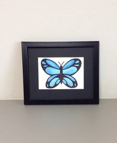 Butterfly Watercolor Painting 5 x 7 Framed Original 10% coupon PIN10SHOPSMALL thru 11-31-15