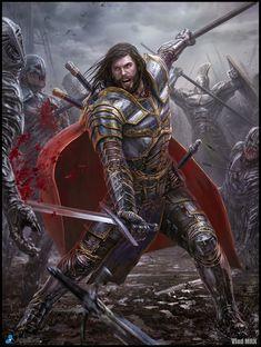 Artist: Vlad Marica aka Vlad MRK - Title: Knight adv - Card: Sir Hank, Guided by Scarlet (Home)
