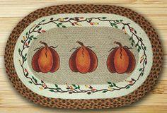 "Harvest Pumpkin Oval Braided Jute Rug 20""x30"""