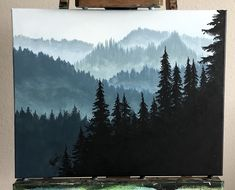 Forest Covered Mountain Painting This ORIGINAL acrylic painting depicts a forest-covered mountain range. Hazy mountains make the background and silhouetted pine trees make the foreground. Pine Tree Painting, Pine Tree Art, Forest Painting, Forest Art, Tree Tree, Pine Forest, Landscape Art, Landscape Paintings, Tree Paintings