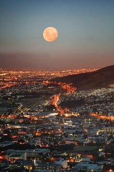 Cape Town at Full MoonSouth, Africa.