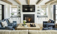 modern living room in Boardwalk Beach House Home Living Room, Living Area, Living Spaces, Small Beach Houses, Coastal Farmhouse, Modern Coastal, Coastal Style, Coastal Living, Coastal Decor