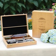 Personalized Wine Wedding Ceremony Box with Toasting Flutes