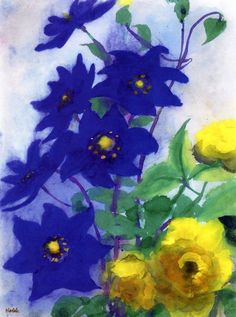 Blue ~ by Emil Nolde ~: German painter & printmaker; considered to be one of the great oil painting and watercolour painters of the century - Watercolor ~ Emil Nolde, Edvard Munch, Art Floral, Floral Artwork, George Grosz, Ernst Ludwig Kirchner, Guache, Art Moderne, Art For Art Sake