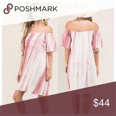 New! Pink Tie-dyed off shoulder dress Pink Tie-dyed off shoulder dress. Made of 100% Rayon. Lightweight Dress with breathable, comfortable fit.   Trendy, stretch off shoulder top is also perfect for breastfeeding moms. The style is also complimentary for maternity. Happy Organics Boutique Dresses