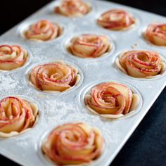 "Rolled apples and mini pie shells make delightful ""roses"" for a unique Valentine's Day dessert."