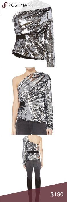 Carven Sequins One Shoulder Top Prefect glam top that can be dressed down and up! Carven Tops Blouses