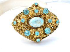 Speckled Blue Robin Egg Rhinestone Brooch Rockabilly Jewelry