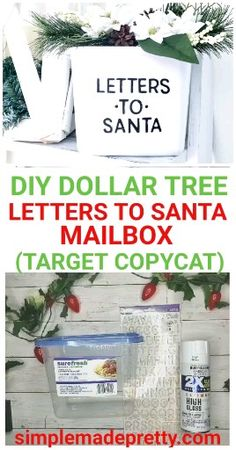 DIY LETTERS TO SANTA MAILBOX - letters to santa, letters to santa free printable, letters to santa mailbox, letters to santa ideas - Kids Mailbox, Santa Mailbox, Dollar Tree Christmas, Christmas Letters, Christmas Diy, Christmas Desserts, Christmas 2019, Xmas, Dollar Tree Decor