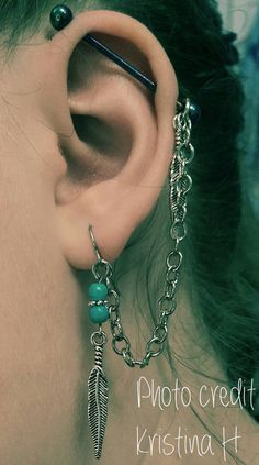 Feather & Turquoise Stone Industrial Barbell by FeatherBlueJewelry
